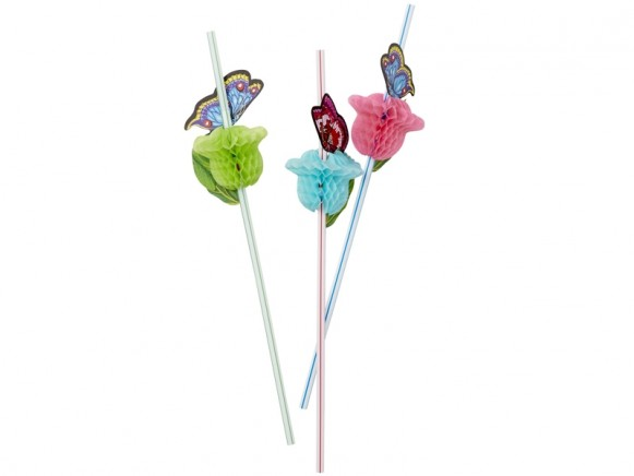 RICE 10 Party Straws BUTTERFLY