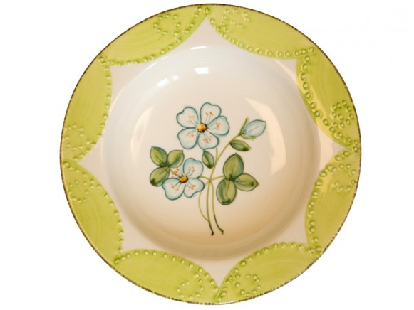 Beautiful soup plate with blue flowers by RICE Denmark