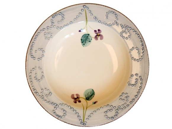 Soup plate in blue with violets by RICE Denmark