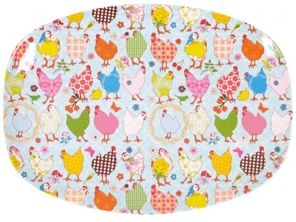 Melamine plate in mint with hen print by RICE