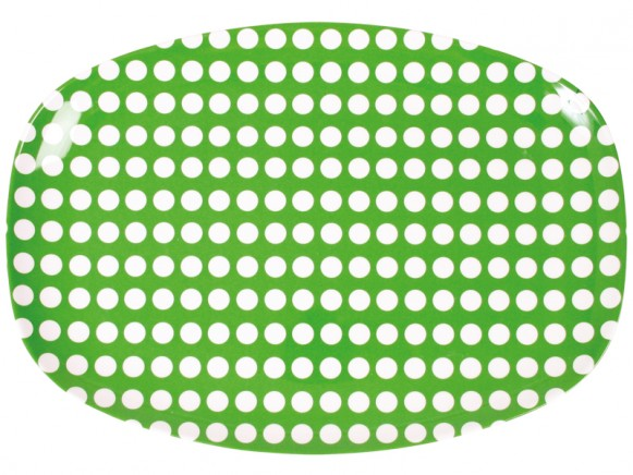 Melamine plate in green with white dots by RICE