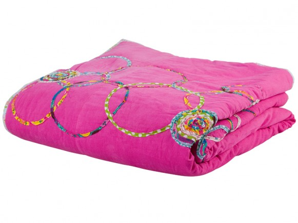 Fuchsia corduroy blanket with circle application by RICE Denmark