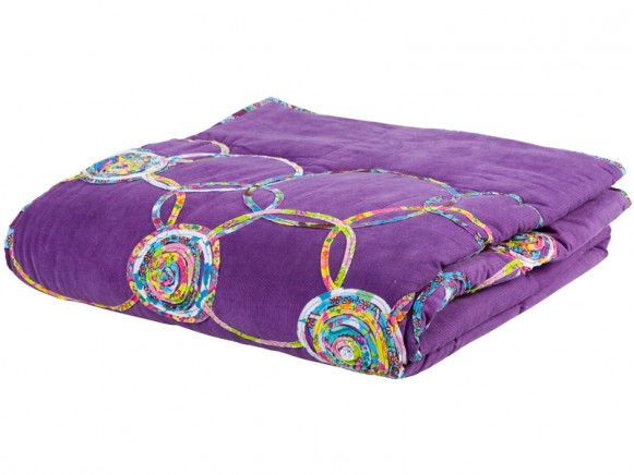 Purple corduroy blanket with circle application by RICE Denmark