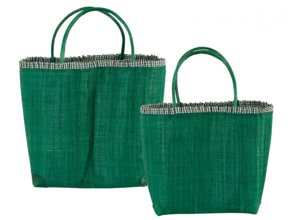 Green raffia shopping bag with leather handles by RICE Denmark