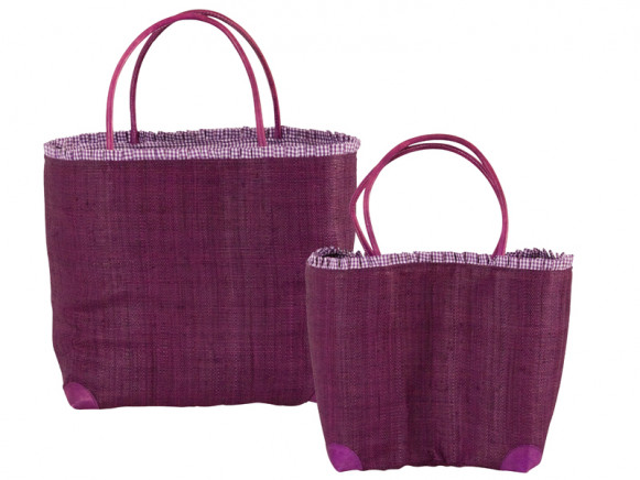 Purple raffia shopping bag with leather handles by RICE Denmark
