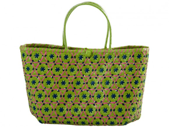 Green shopping bag in Vietnamese weave by RICE