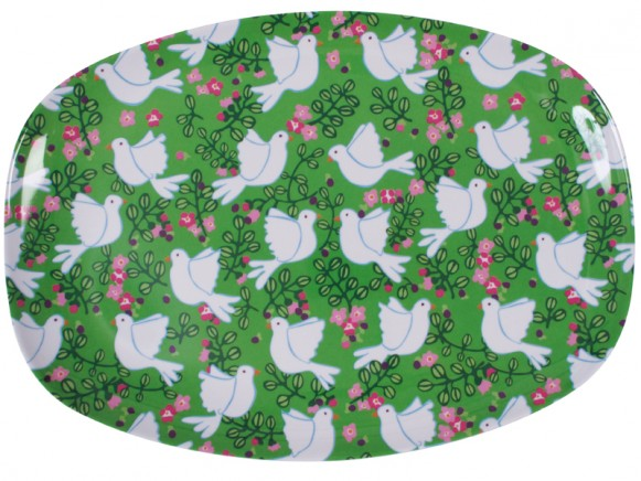 Melamine plate with green dove print by RICE Denmark