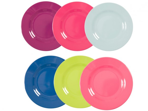 Melamine round side plates in fun-funky-fabulous colours by RICE Denmark