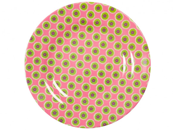 Melamine side plate two tone with pink circle flower print by RICEE