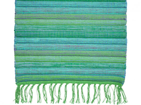 Floor runner in green and blue colours by RICE Denmark