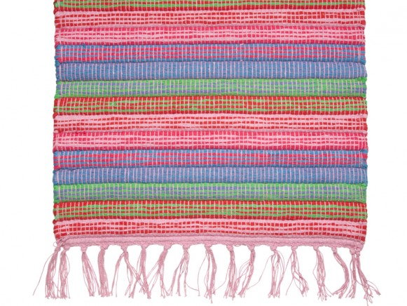 Floor runner in red and pink colours by RICE Denmark