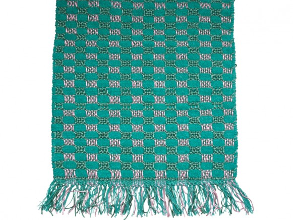 Chenille floor mat in jade / pink colours by RICE
