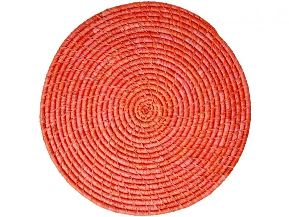 RICE Raffia Coaster RED