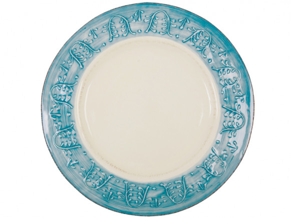 Round serving dish with turquoise relief border by RICE