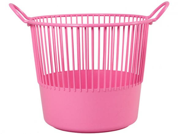 Pink RICE plastic laundry basket