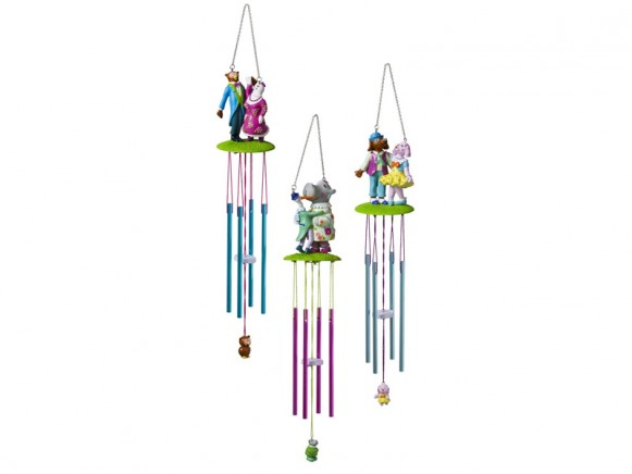 Wind chime with dancing animals by RICE Denmark