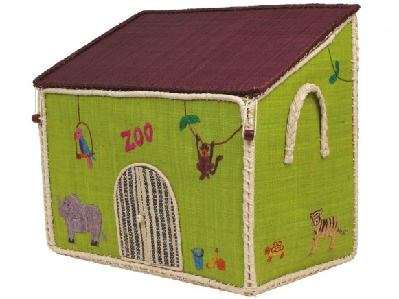 Large embroidered zoo shaped toy basket by RICE