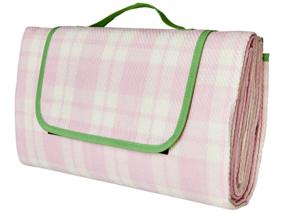 RICE Picnic Blanket CHECKED pink and creme