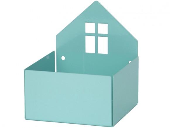 Roommate box shelf HOUSE pastel blue