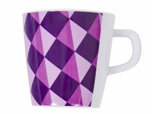 Melamine cup with purple pattern by Sebra
