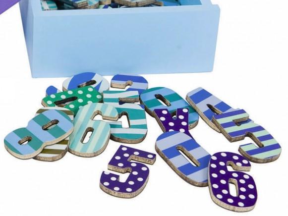 Sebra magnetic numbers DOTS STRIPES BLUE