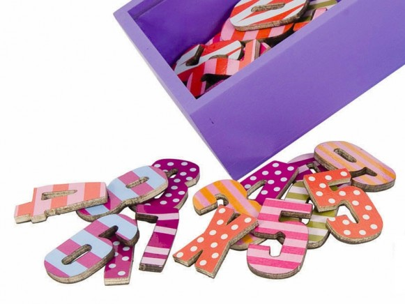 Sebra magnetic numbers DOTS STRIPES PINK