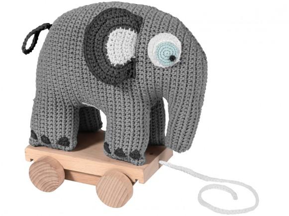 Sebra elephant on wheels pastel grey