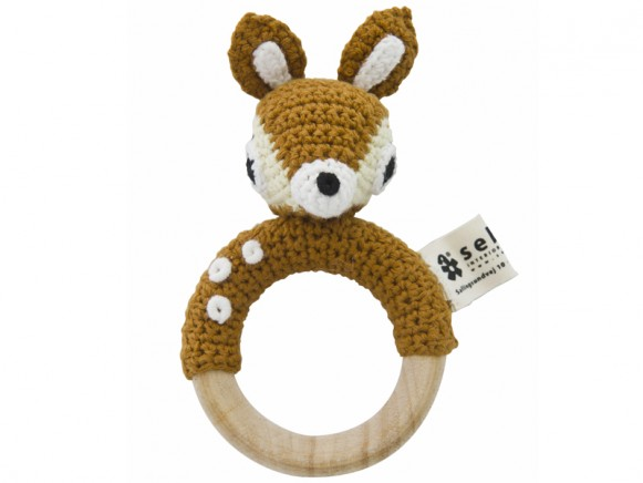 Rattle on wooden ring with deer by Sebra