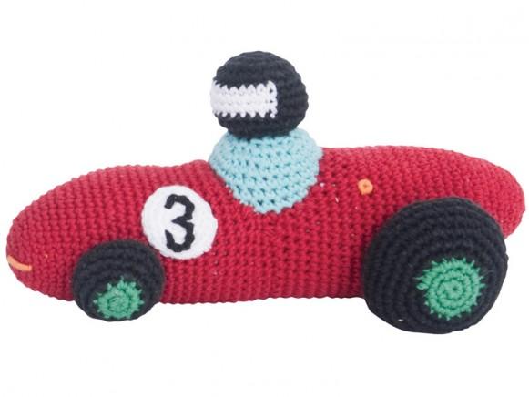 Crochet racing car rattle in red by Sebra