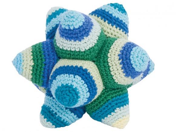 Crochet rattle star in blue by Sebra