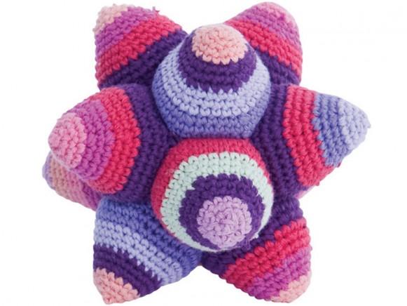 Crochet rattle star in purple by Sebra