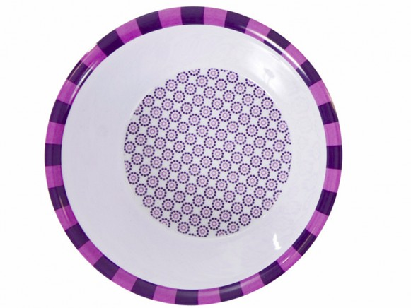 Melamine bowl with purple pattern by Sebra