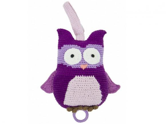 Owl shaped musical clock in purple by Sebra