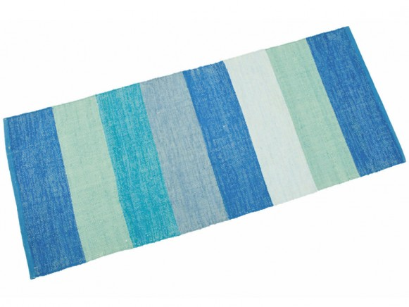 Woven mat with blue stripes by Sebra