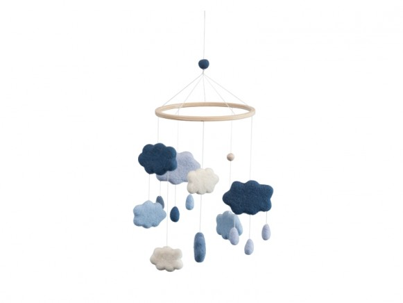 Sebra baby mobile clouds royal blue