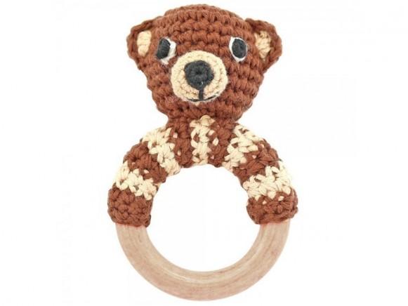Sindibaba Rattle Ring BEAR brown