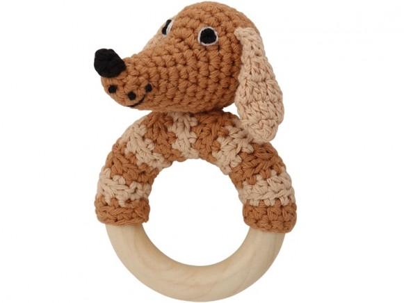 Sindibaba Rattle Ring DOG LUCKY brown