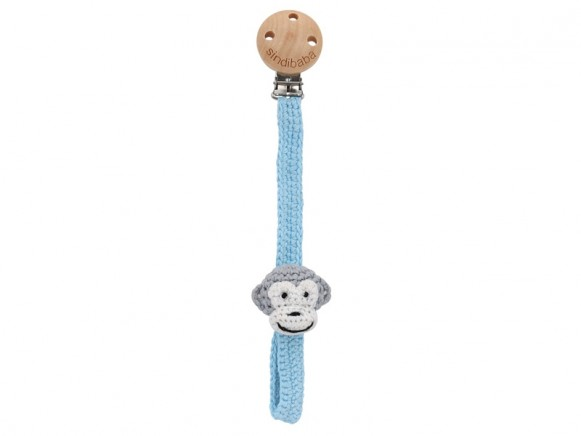 Sindibaba pacifier holder MONKEY light blue