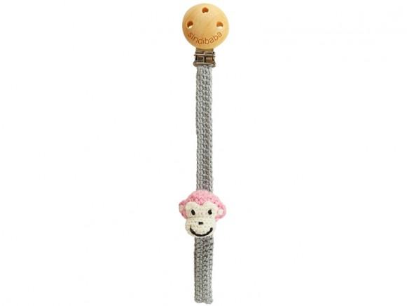 Sindibaba dummy holder MONKEY PINK