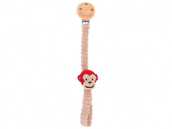 Sindibaba pacifier holder MONKEY red
