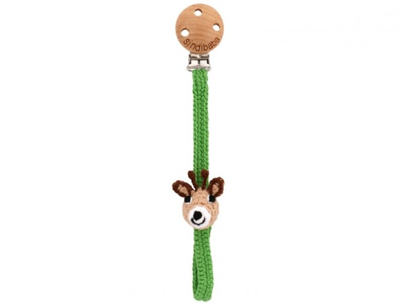 Sindibaba pacifier holder GIRAFFE green