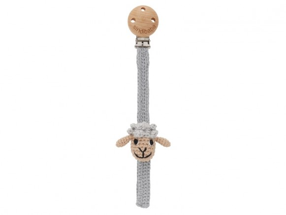 Sindibaba pacifier holder SHEEP grey