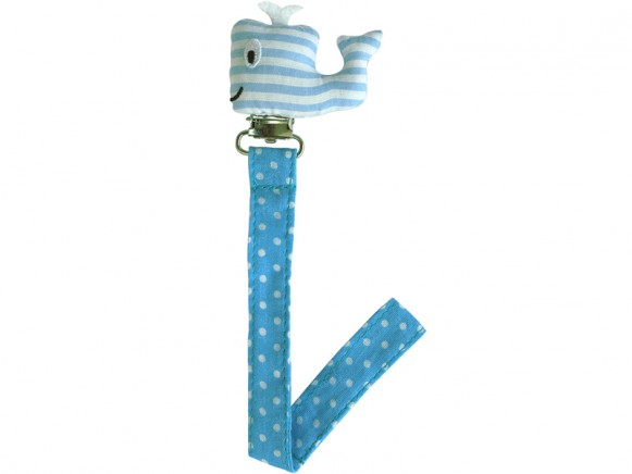 Sindibaba pacifier holder WHALE blue