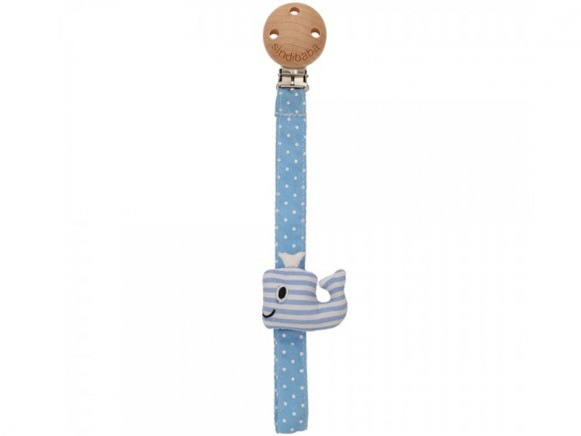 Sindibaba pacifier clip WHALE blue