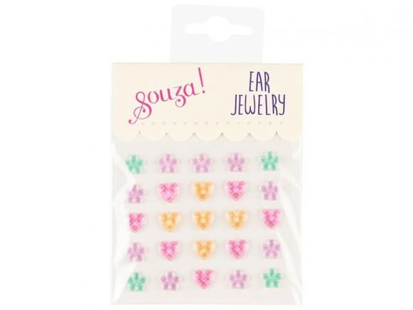 Souza Ear Clip Stickers HEARTS & FLOWERS pastel