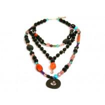 FIVA Necklace (3reihig, schwarz/bunt)