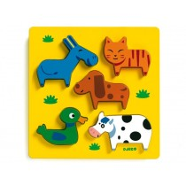 Wooden baby puzzle with animals by Djeco