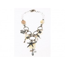 FIVA necklace (KS, Agat, Perlmutt, versilb.Elemente)