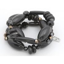 FIVA Bracelet (3er Set schwarze Holzelemente)