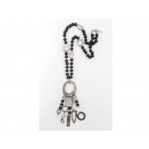 FIVA Necklace (lang, schwarz, Holz, Silberelemente)
